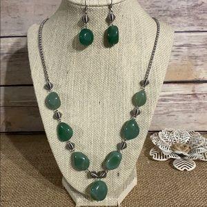 Green Adventurine Necklace Earring Set